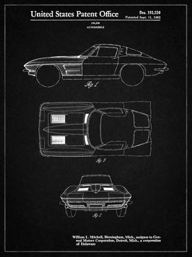 PP90-Vintage Black 1962 Corvette Stingray Patent Poster by Cole Borders