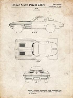 PP90-Vintage Parchment 1962 Corvette Stingray Patent Poster by Cole Borders