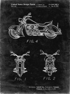 PP901-Black Grunge Kawasaki Motorcycle Patent Poster by Cole Borders