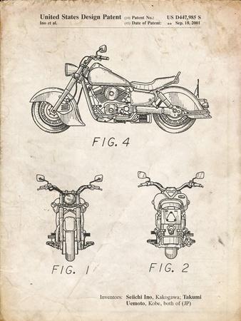 PP901-Vintage Parchment Kawasaki Motorcycle Patent Poster