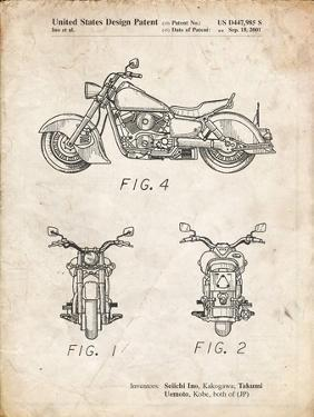 PP901-Vintage Parchment Kawasaki Motorcycle Patent Poster by Cole Borders