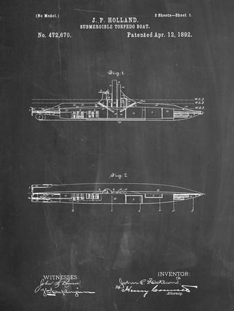 PP91-Chalkboard Holland Submarine Patent Poster