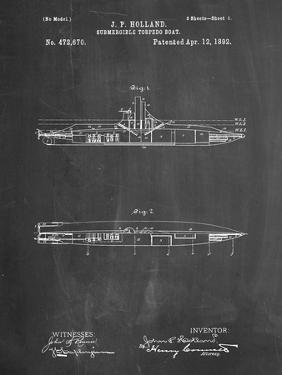 PP91-Chalkboard Holland Submarine Patent Poster by Cole Borders