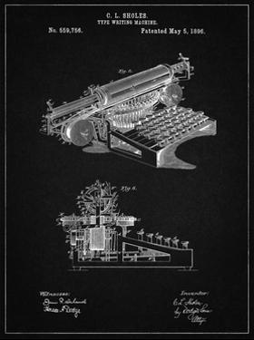 PP918-Vintage Black Last Sholes Typewriter Patent Poster by Cole Borders