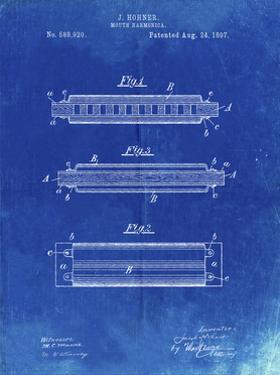 PP94-Faded Blueprint Hohner Harmonica Patent Poster by Cole Borders