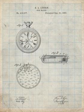 PP940-Antique Grid Parchment Lemania Swiss Stopwatch Patent Poster by Cole Borders
