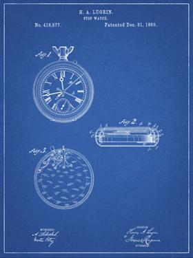 PP940-Blueprint Lemania Swiss Stopwatch Patent Poster by Cole Borders