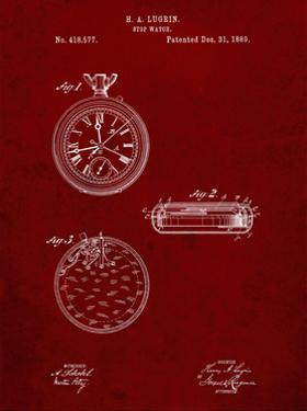 PP940-Burgundy Lemania Swiss Stopwatch Patent Poster by Cole Borders
