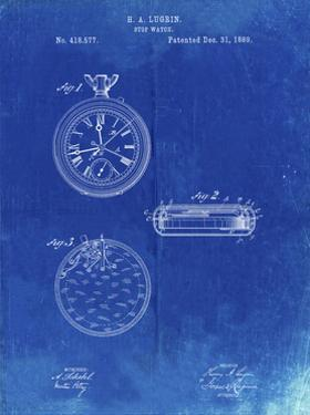 PP940-Faded Blueprint Lemania Swiss Stopwatch Patent Poster by Cole Borders