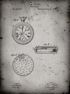 PP940-Faded Grey Lemania Swiss Stopwatch Patent Poster by Cole Borders