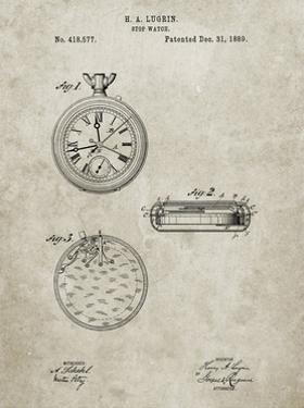 PP940-Sandstone Lemania Swiss Stopwatch Patent Poster by Cole Borders