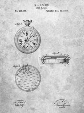 PP940-Slate Lemania Swiss Stopwatch Patent Poster by Cole Borders