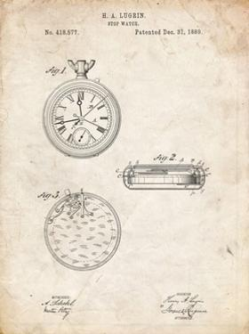 PP940-Vintage Parchment Lemania Swiss Stopwatch Patent Poster by Cole Borders