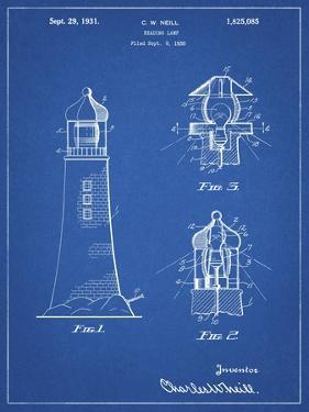 PP941-Blueprint Lighthouse Patent Poster by Cole Borders