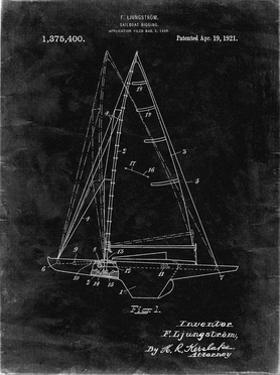 PP942-Black Grunge Ljungstrom Sailboat Rigging Patent Poster by Cole Borders