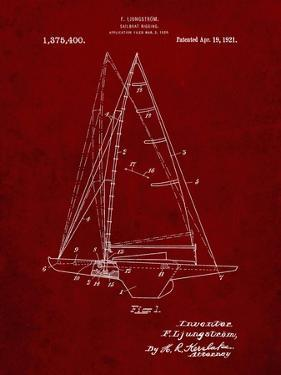 PP942-Burgundy Ljungstrom Sailboat Rigging Patent Poster by Cole Borders