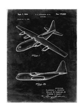 PP943-Black Grunge Lockheed C-130 Hercules Airplane Patent Poster by Cole Borders