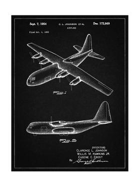 PP943-Vintage Black Lockheed C-130 Hercules Airplane Patent Poster by Cole Borders