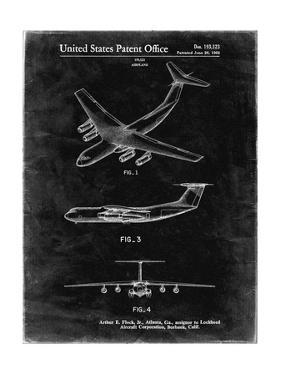 PP944-Black Grunge Lockheed C-130 Hercules Airplane Patent Poster by Cole Borders