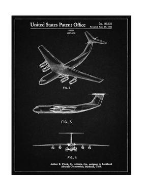PP944-Vintage Black Lockheed C-130 Hercules Airplane Patent Poster by Cole Borders