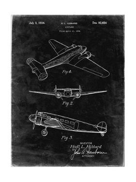 PP945-Black Grunge Lockheed Electra Airplane Patent Poster by Cole Borders
