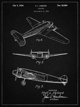 PP945-Vintage Black Lockheed Electra Airplane Patent Poster by Cole Borders