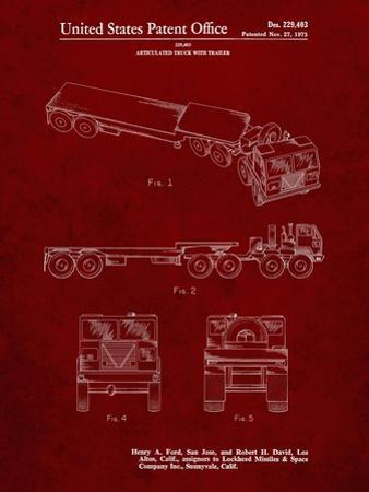 PP946-Burgundy Lockheed Ford Truck and Trailer Patent Poster by Cole Borders