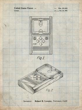 PP950-Antique Grid Parchment Mattel Electronic Basketball Game Patent Poster by Cole Borders