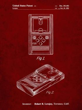 PP950-Burgundy Mattel Electronic Basketball Game Patent Poster by Cole Borders