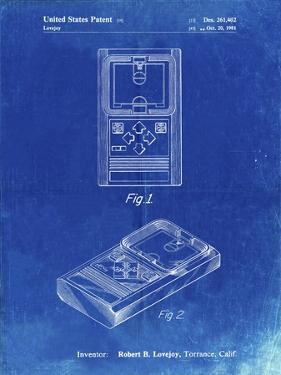 PP950-Faded Blueprint Mattel Electronic Basketball Game Patent Poster by Cole Borders