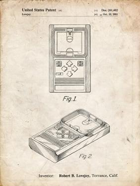 PP950-Vintage Parchment Mattel Electronic Basketball Game Patent Poster by Cole Borders