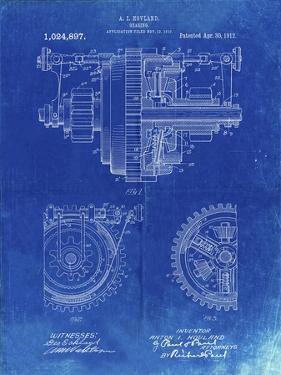 PP953-Faded Blueprint Mechanical Gearing 1912 Patent Poster by Cole Borders