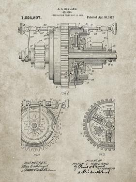 PP953-Sandstone Mechanical Gearing 1912 Patent Poster by Cole Borders
