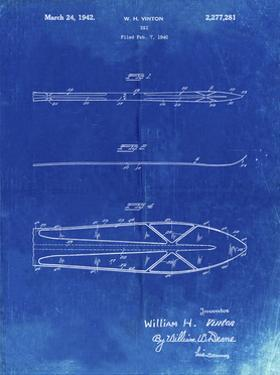 PP955-Faded Blueprint Metal Skis 1940 Patent Poster by Cole Borders