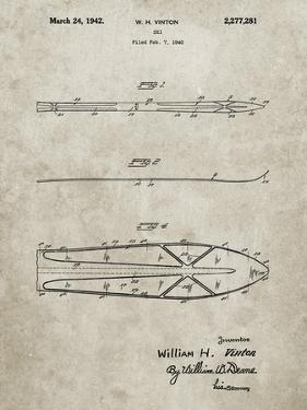 PP955-Sandstone Metal Skis 1940 Patent Poster by Cole Borders