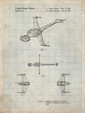 PP96-Antique Grid Parchment Star Wars B-Wing Starfighter Patent Poster by Cole Borders