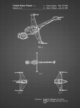 PP96-Black Grid Star Wars B-Wing Starfighter Patent Poster by Cole Borders