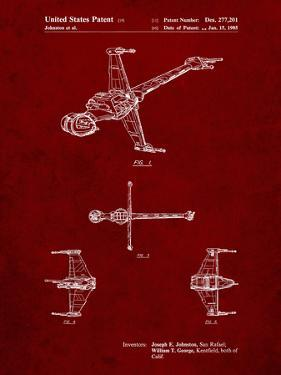PP96-Burgundy Star Wars B-Wing Starfighter Patent Poster by Cole Borders