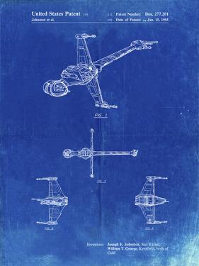 PP96-Faded Blueprint Star Wars B-Wing Starfighter Patent Poster by Cole Borders