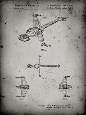 PP96-Faded Grey Star Wars B-Wing Starfighter Patent Poster by Cole Borders
