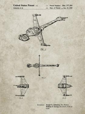 PP96-Sandstone Star Wars B-Wing Starfighter Patent Poster by Cole Borders