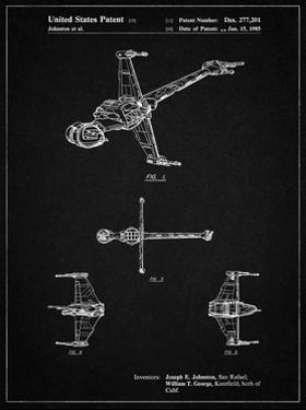 PP96-Vintage Black Star Wars B-Wing Starfighter Patent Poster by Cole Borders
