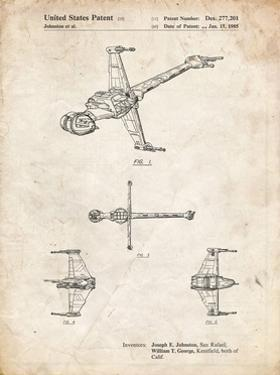 PP96-Vintage Parchment Star Wars B-Wing Starfighter Patent Poster by Cole Borders