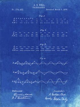 PP962-Faded Blueprint Morse Code Patent Poster by Cole Borders