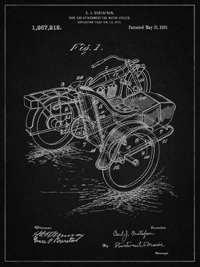 PP963-Vintage Black Motorcycle Sidecar 1918 Patent Poster by Cole Borders