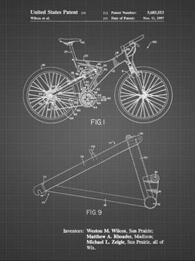 PP965-Black Grid Mountain Bike Patent Art by Cole Borders