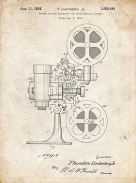 PP966-Vintage Parchment Movie Projector 1933 Patent Poster by Cole Borders