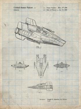 PP97-Antique Grid Parchment Star Wars RZ-1 A Wing Starfighter Patent Poster by Cole Borders