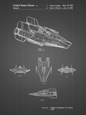 PP97-Black Grid Star Wars RZ-1 A Wing Starfighter Patent Poster by Cole Borders