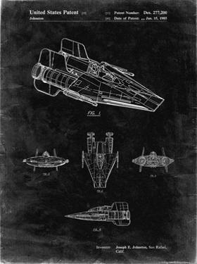 PP97-Black Grunge Star Wars RZ-1 A Wing Starfighter Patent Poster by Cole Borders
